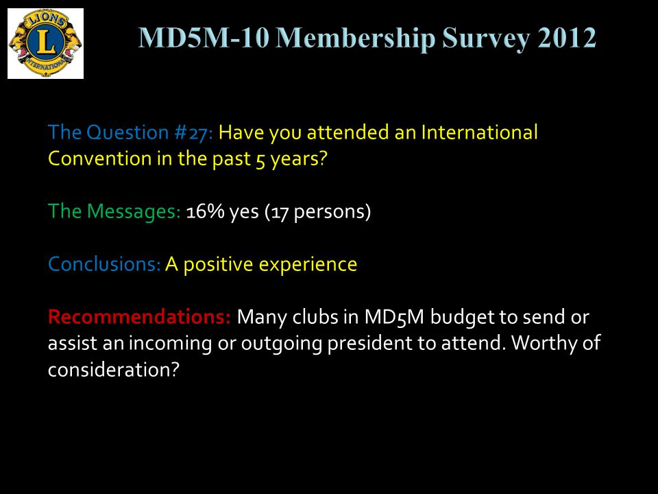 The Question #27: Have you attended an International Convention in the past 5 years.