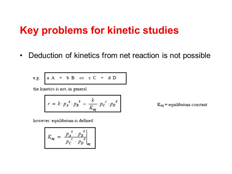 Key problems for kinetic studies Deduction of kinetics from net reaction is not possible