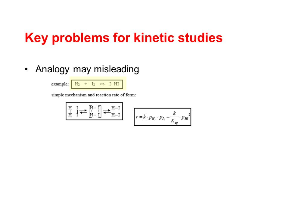 Key problems for kinetic studies Analogy may misleading