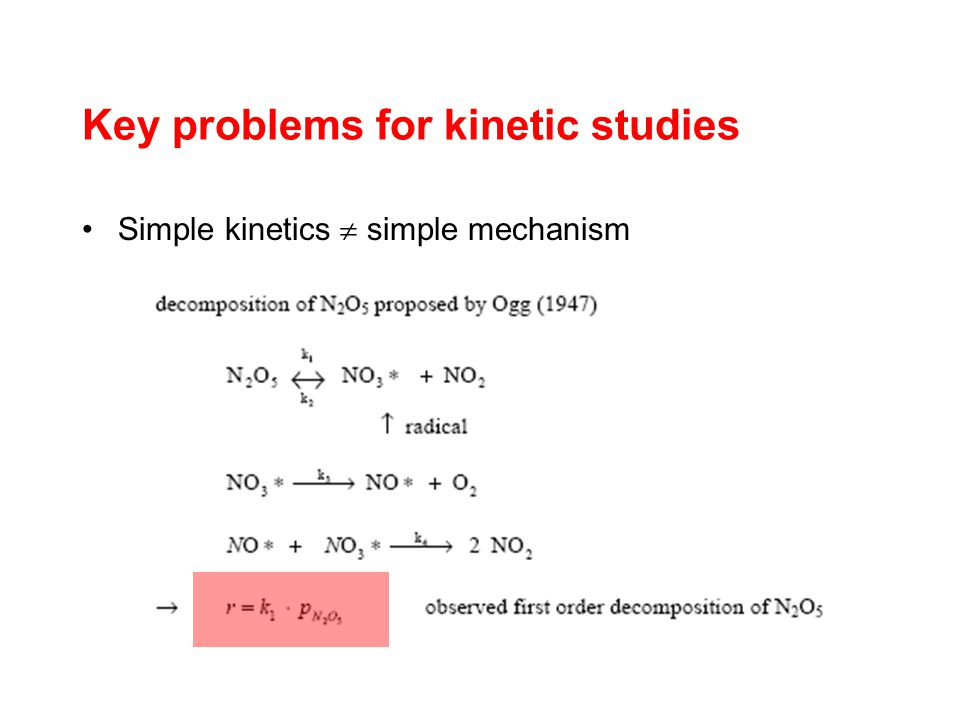 Key problems for kinetic studies Simple kinetics simple mechanism