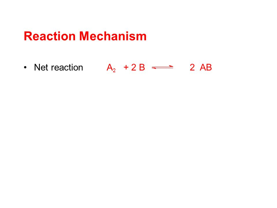 Reaction Mechanism Net reaction A 2 + 2 B2 AB consists of a number of steps A 2 + BA 2 B A 2 B + B2 AB Concept of elementary steps: further subdivision and introduction of hypothetical intermediates A 2 + BA 2 B A 2 B + BA 2 B 2 A 2 B 2 2 AB