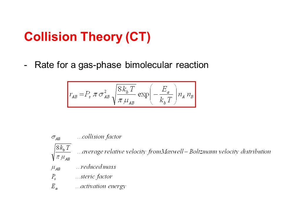 -Rate for a gas-phase bimolecular reaction Collision Theory (CT)