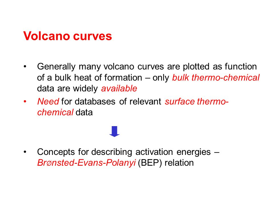 Volcano curves Generally many volcano curves are plotted as function of a bulk heat of formation – only bulk thermo-chemical data are widely available Need for databases of relevant surface thermo- chemical data Concepts for describing activation energies – Br Ø nsted-Evans-Polanyi (BEP) relation