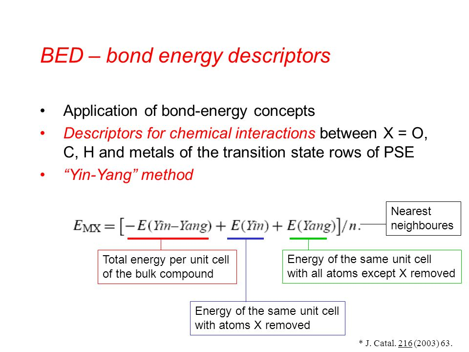 BED – bond energy descriptors Application of bond-energy concepts Descriptors for chemical interactions between X = O, C, H and metals of the transition state rows of PSE Yin-Yang method * J.