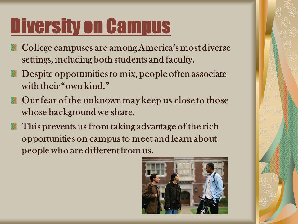 Diversity on Campus College campuses are among Americas most diverse settings, including both students and faculty. Despite opportunities to mix, peop