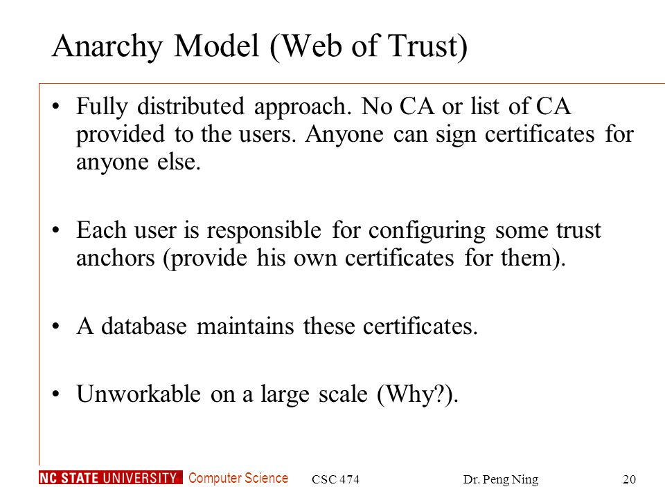 Computer Science CSC 474Dr. Peng Ning20 Anarchy Model (Web of Trust) Fully distributed approach.