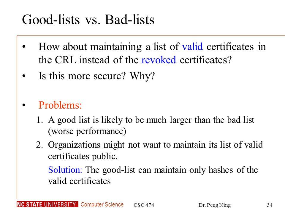 Computer Science CSC 474Dr. Peng Ning34 Good-lists vs.