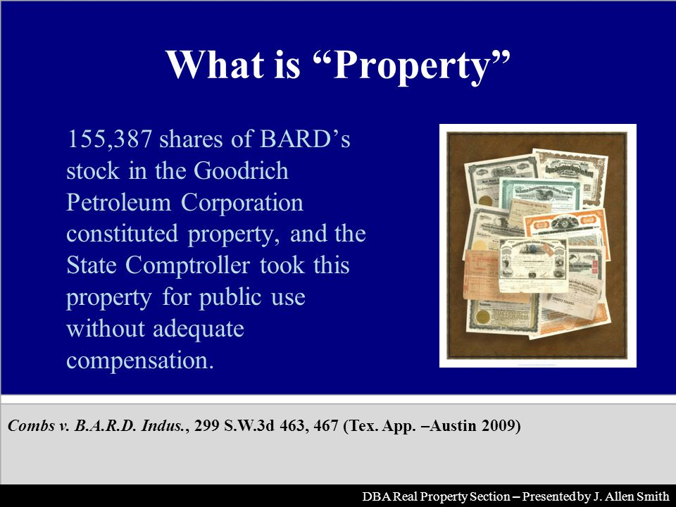 What is Property 155,387 shares of BARDs stock in the Goodrich Petroleum Corporation constituted property, and the State Comptroller took this propert