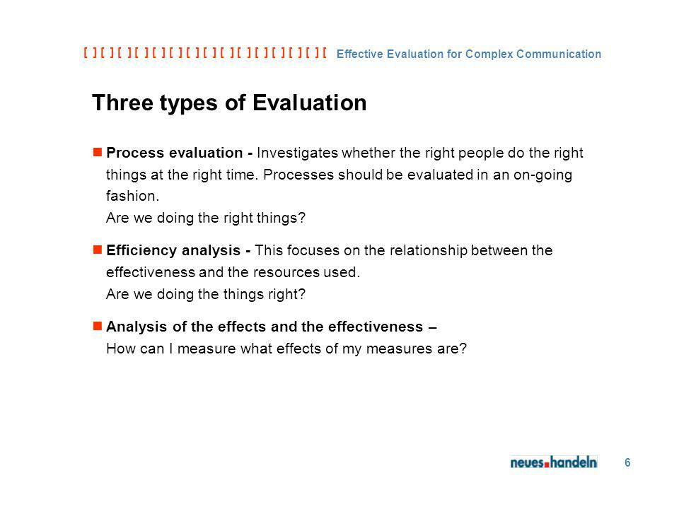 [ ] [ ] [ ] [ ] [ ] [ ] [ ] [ ] [ ] [ ] [ ] [ ] [ ] [ ] [ ] [ ] [ ] [ ] [ ] [ ] [ Effective Evaluation for Complex Communication 6 Three types of Evaluation Process evaluation - Investigates whether the right people do the right things at the right time.