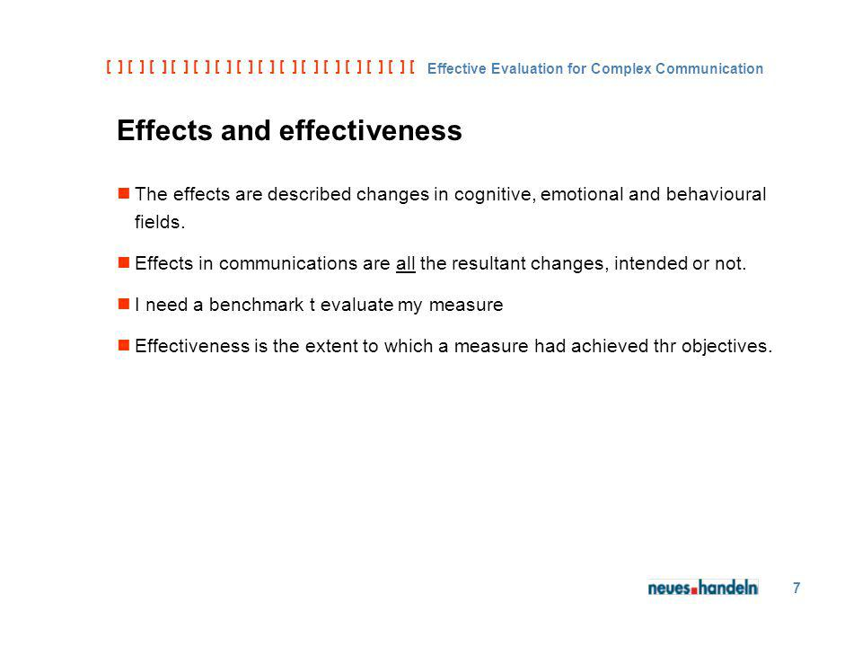 [ ] [ ] [ ] [ ] [ ] [ ] [ ] [ ] [ ] [ ] [ ] [ ] [ ] [ ] [ ] [ ] [ ] [ ] [ ] [ ] [ Effective Evaluation for Complex Communication 7 Effects and effectiveness The effects are described changes in cognitive, emotional and behavioural fields.
