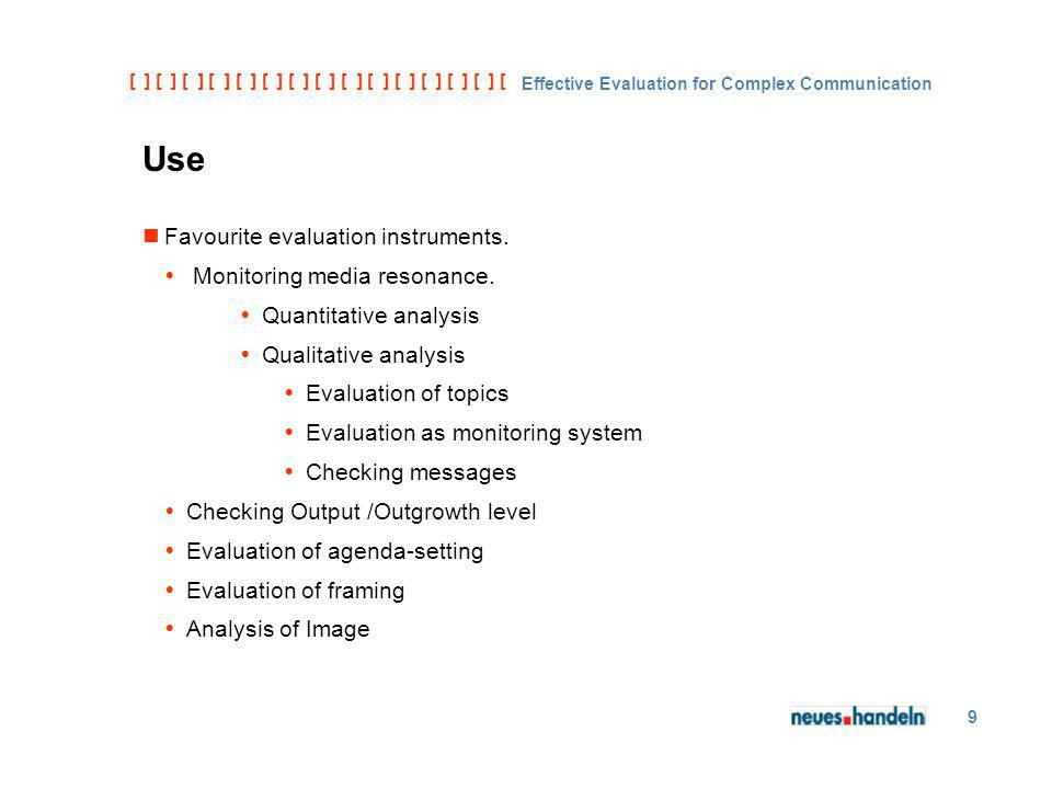 [ ] [ ] [ ] [ ] [ ] [ ] [ ] [ ] [ ] [ ] [ ] [ ] [ ] [ ] [ ] [ ] [ ] [ ] [ ] [ ] [ Effective Evaluation for Complex Communication 9 Use Favourite evalu