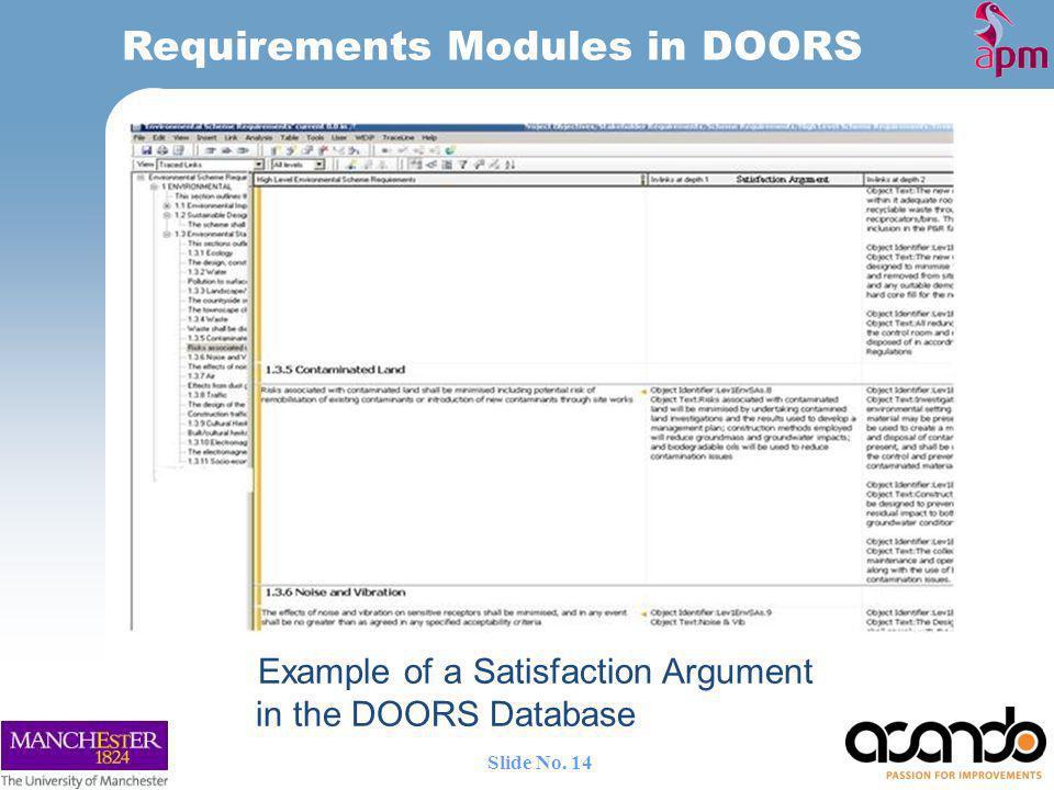 Example of a Satisfaction Argument in the DOORS Database Requirements Modules in DOORS 14 Slide No.