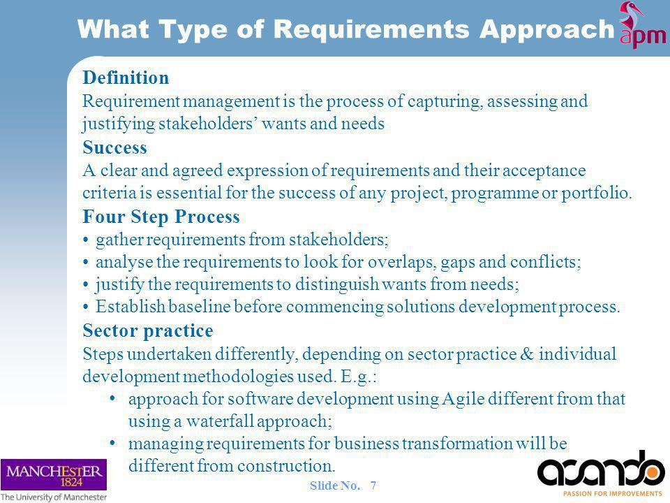 Definition Requirement management is the process of capturing, assessing and justifying stakeholders wants and needs Success A clear and agreed expression of requirements and their acceptance criteria is essential for the success of any project, programme or portfolio.