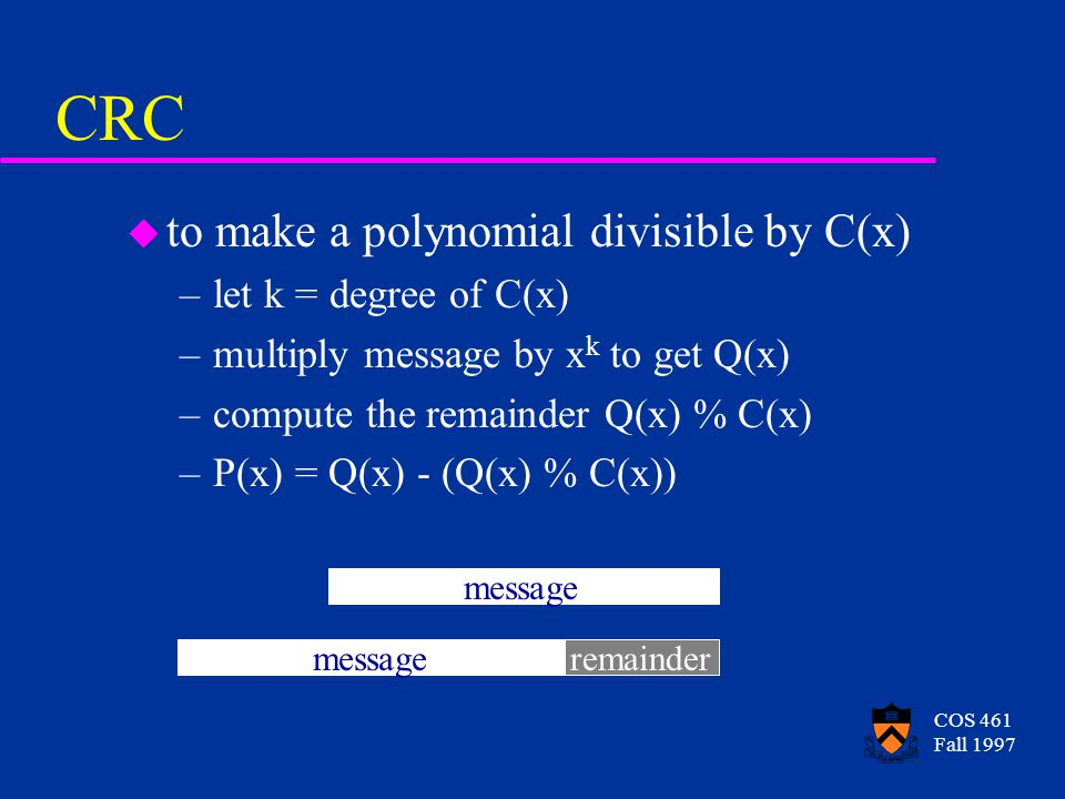 COS 461 Fall 1997 CRC u to make a polynomial divisible by C(x) –let k = degree of C(x) –multiply message by x k to get Q(x) –compute the remainder Q(x) % C(x) –P(x) = Q(x) - (Q(x) % C(x)) message remainder