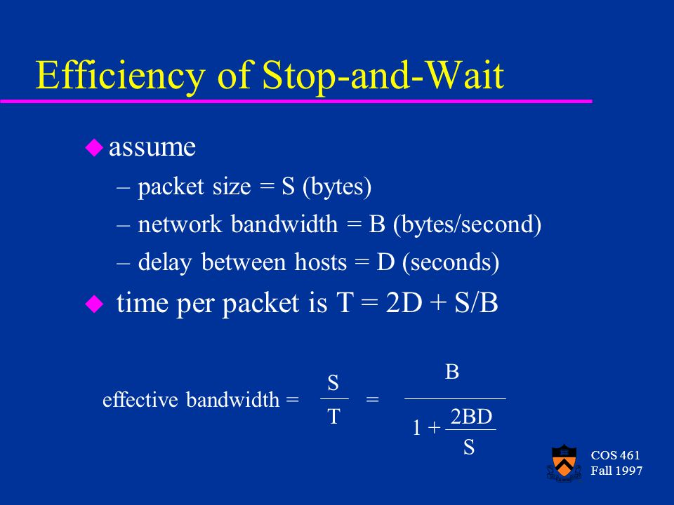 COS 461 Fall 1997 Efficiency of Stop-and-Wait u assume –packet size = S (bytes) –network bandwidth = B (bytes/second) –delay between hosts = D (seconds) u time per packet is T = 2D + S/B effective bandwidth = S T = 1 + 2BD S B