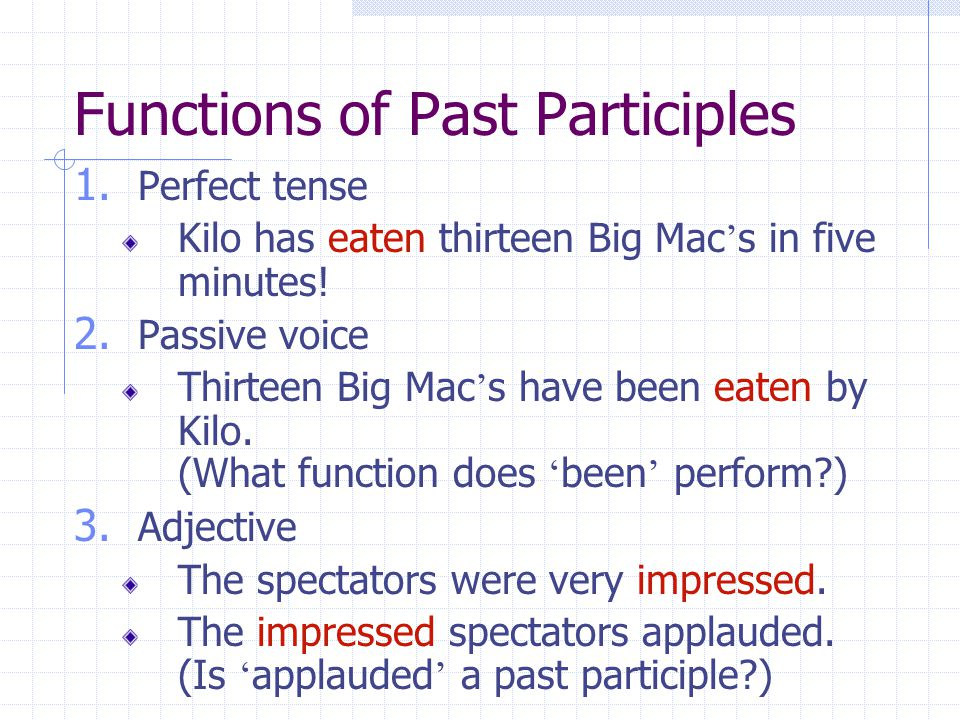 Identify the functions of the following participles.