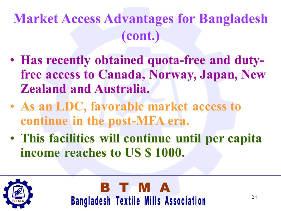 23 Market Access Advantages for Bangladesh In the EU under GSP Scheme and also under EBA agreement, Bangladesh textile products are quota free and dut