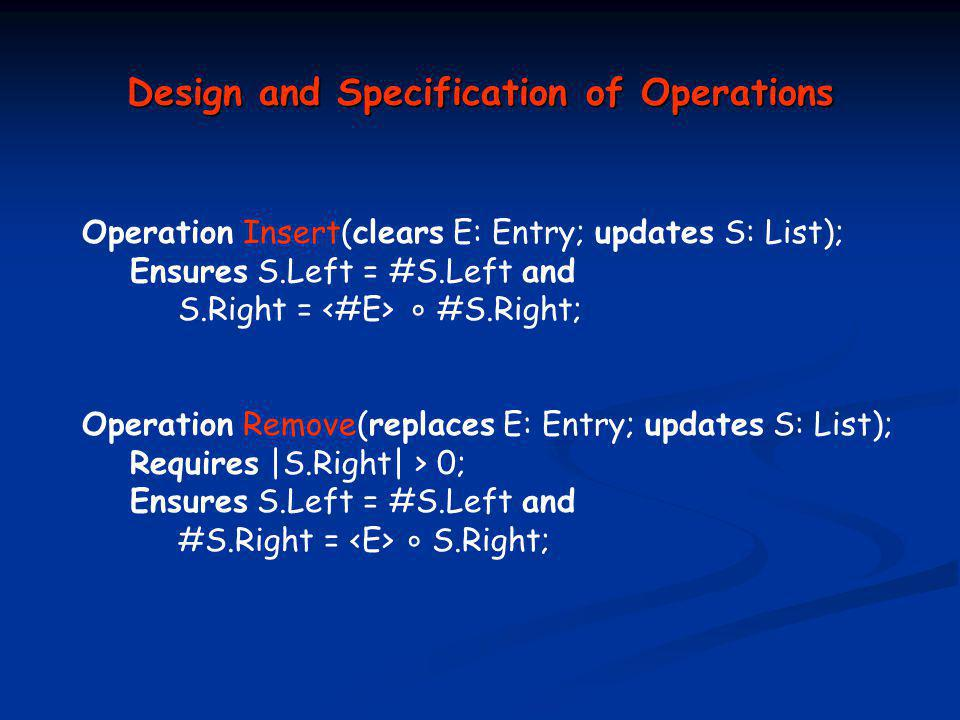 Design and Specification of Operations Operation Insert(clears E: Entry; updates S: List); Ensures S.Left = #S.Left and S.Right = ° #S.Right; Operation Remove(replaces E: Entry; updates S: List); Requires |S.Right| > 0; Ensures S.Left = #S.Left and #S.Right = ° S.Right;