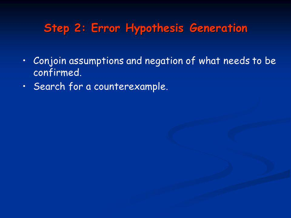 Step 2: Error Hypothesis Generation Conjoin assumptions and negation of what needs to be confirmed.