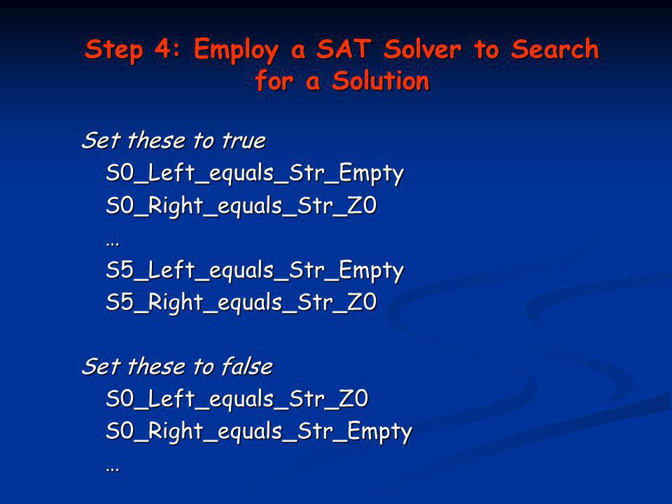 Step 4: Employ a SAT Solver to Search for a Solution Set these to true S0_Left_equals_Str_Empty S0_Left_equals_Str_EmptyS0_Right_equals_Str_Z0…S5_Left_equals_Str_EmptyS5_Right_equals_Str_Z0 Set these to false S0_Left_equals_Str_Z0 S0_Left_equals_Str_Z0S0_Right_equals_Str_Empty…