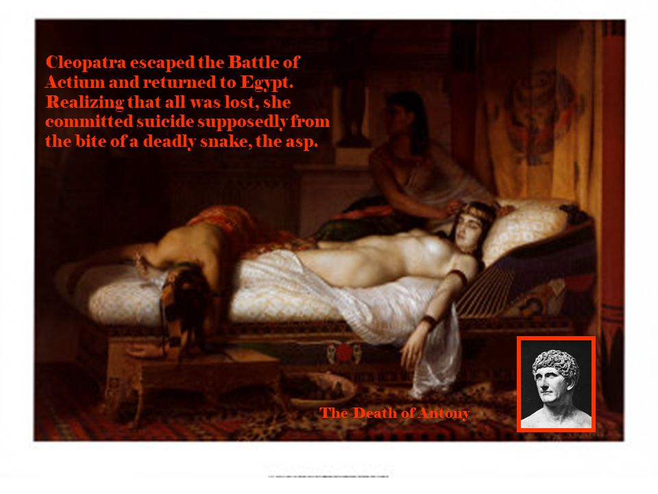 Cleopatra escaped the Battle of Actium and returned to Egypt.