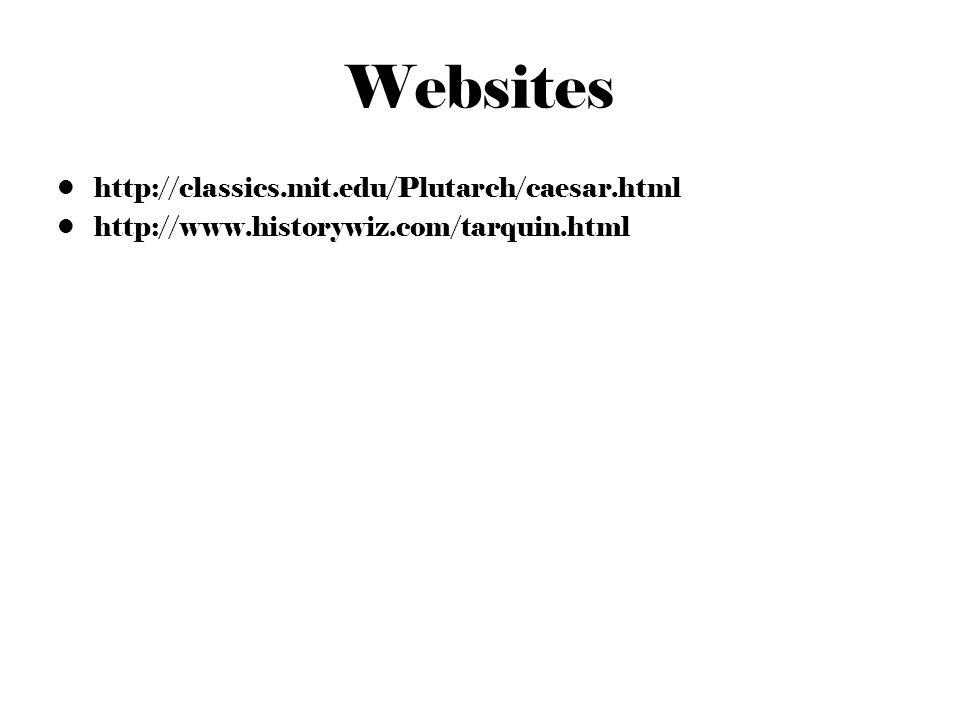 Websites http://classics.mit.edu/Plutarch/caesar.html http://www.historywiz.com/tarquin.html