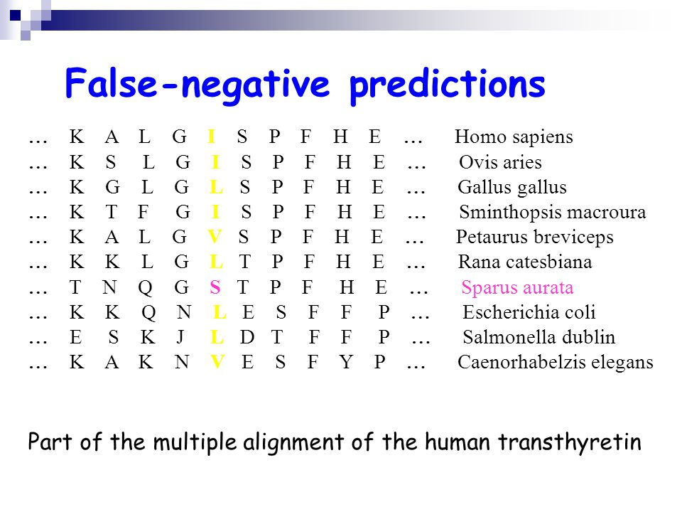 False-negative predictions K A L G I S P F H E Homo sapiens K S L G I S P F H E Ovis aries K G L G L S P F H E Gallus gallus K T F G I S P F H E Sminthopsis macroura K A L G V S P F H E Petaurus breviceps K K L G L T P F H E Rana catesbiana T N Q G S T P F H E Sparus aurata K K Q N L E S F F P Escherichia coli E S K J L D T F F P Salmonella dublin K A K N V E S F Y P Caenorhabelzis elegans Part of the multiple alignment of the human transthyretin