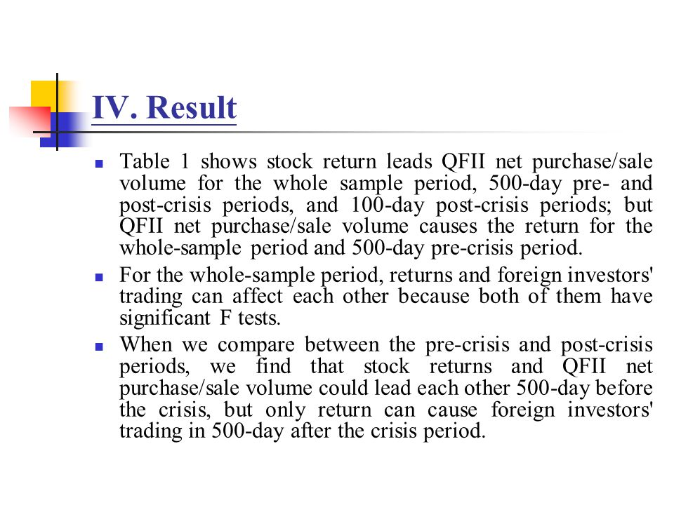 IV. Result Table 1 shows stock return leads QFII net purchase/sale volume for the whole sample period, 500-day pre- and post-crisis periods, and 100-d