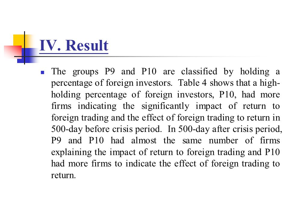 IV. Result The groups P9 and P10 are classified by holding a percentage of foreign investors. Table 4 shows that a high- holding percentage of foreign