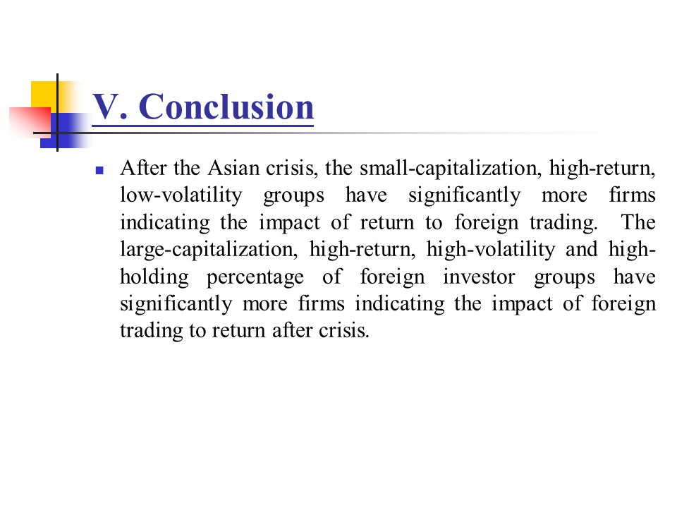 V. Conclusion After the Asian crisis, the small-capitalization, high-return, low-volatility groups have significantly more firms indicating the impact