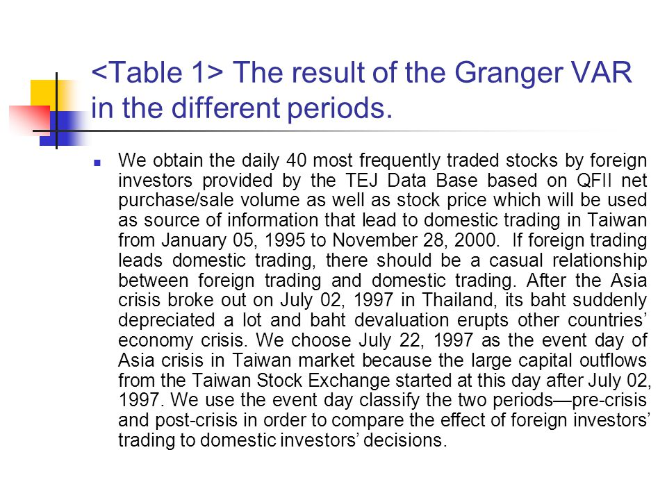 The result of the Granger VAR in the different periods. We obtain the daily 40 most frequently traded stocks by foreign investors provided by the TEJ