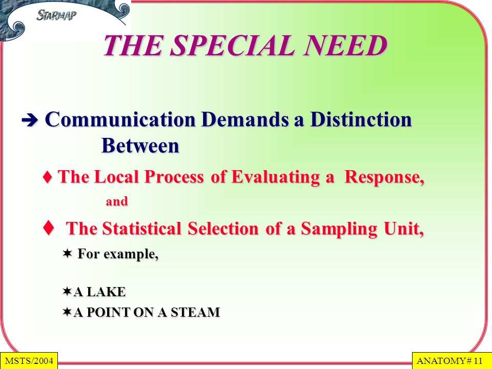 ANATOMY # 11MSTS/2004 THE SPECIAL NEED Communication Demands a Distinction Between Communication Demands a Distinction Between The Local Process of Evaluating a Response, and The Local Process of Evaluating a Response, and The Statistical Selection of a Sampling Unit, The Statistical Selection of a Sampling Unit, For example, For example, A LAKE A LAKE A POINT ON A STEAM A POINT ON A STEAM