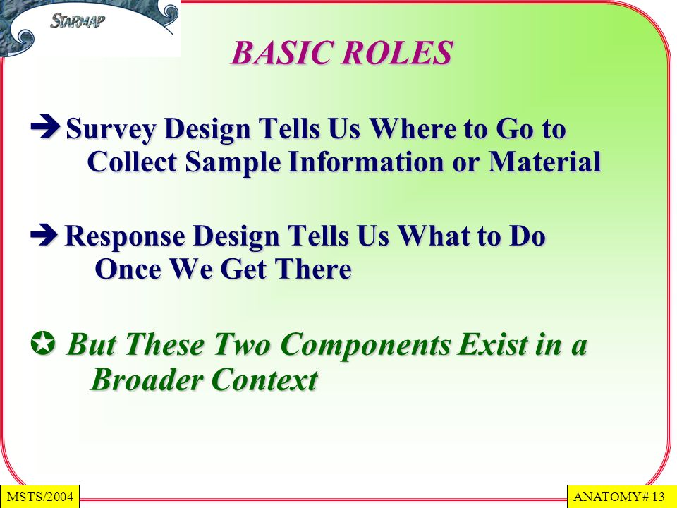 ANATOMY # 13MSTS/2004 BASIC ROLES Survey Design Tells Us Where to Go to Collect Sample Information or Material Survey Design Tells Us Where to Go to Collect Sample Information or Material Response Design Tells Us What to Do Once We Get There Response Design Tells Us What to Do Once We Get There But These Two Components Exist in a Broader Context But These Two Components Exist in a Broader Context