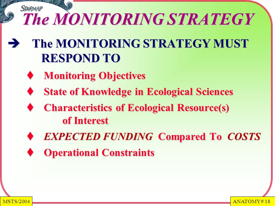 ANATOMY # 18MSTS/2004 The MONITORING STRATEGY The MONITORING STRATEGY MUST RESPOND TO The MONITORING STRATEGY MUST RESPOND TO Monitoring Objectives Monitoring Objectives State of Knowledge in Ecological Sciences State of Knowledge in Ecological Sciences Characteristics of Ecological Resource(s) of Interest Characteristics of Ecological Resource(s) of Interest EXPECTED FUNDING Compared To COSTS EXPECTED FUNDING Compared To COSTS Operational Constraints Operational Constraints