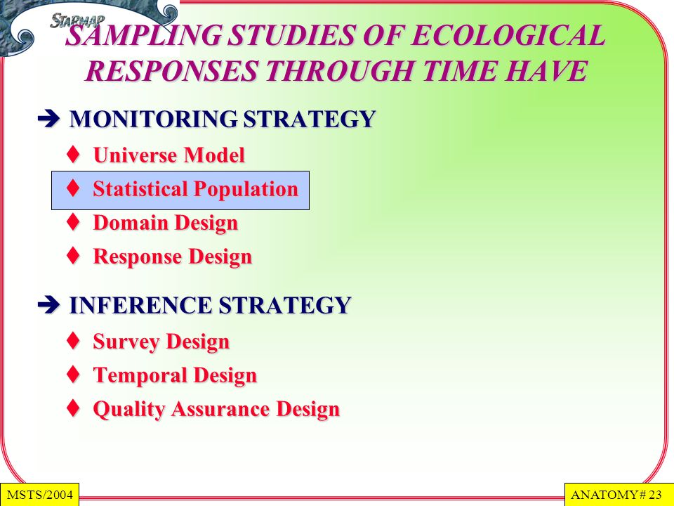 ANATOMY # 23MSTS/2004 MONITORING STRATEGY MONITORING STRATEGY Universe Model Universe Model Statistical Population Statistical Population Domain Design Domain Design Response Design Response Design INFERENCE STRATEGY INFERENCE STRATEGY Survey Design Survey Design Temporal Design Temporal Design Quality Assurance Design Quality Assurance Design SAMPLING STUDIES OF ECOLOGICAL RESPONSES THROUGH TIME HAVE