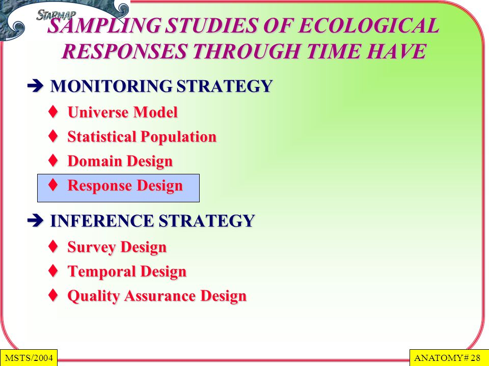 ANATOMY # 28MSTS/2004 MONITORING STRATEGY MONITORING STRATEGY Universe Model Universe Model Statistical Population Statistical Population Domain Design Domain Design Response Design Response Design INFERENCE STRATEGY INFERENCE STRATEGY Survey Design Survey Design Temporal Design Temporal Design Quality Assurance Design Quality Assurance Design SAMPLING STUDIES OF ECOLOGICAL RESPONSES THROUGH TIME HAVE