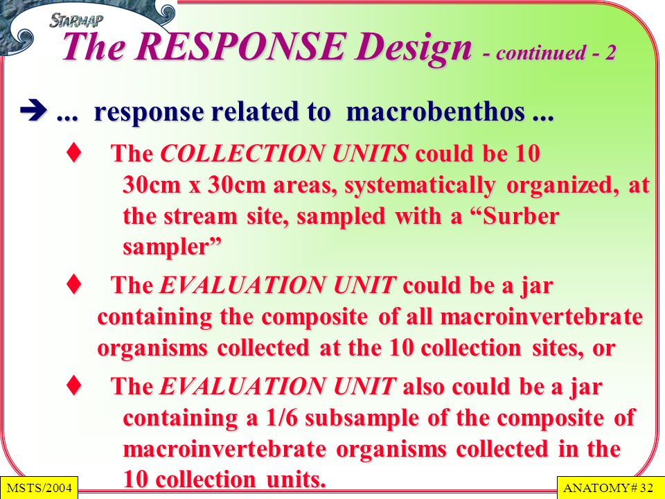 ANATOMY # 32MSTS/2004 The RESPONSE Design - continued - 2...