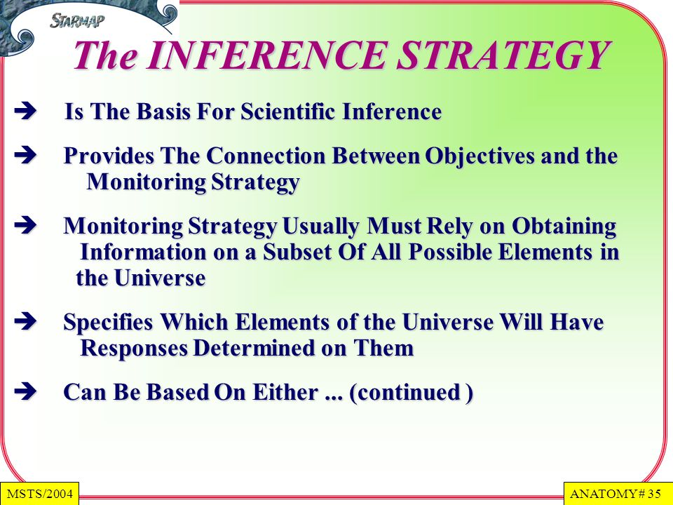 ANATOMY # 35MSTS/2004 The INFERENCE STRATEGY Is The Basis For Scientific Inference Is The Basis For Scientific Inference Provides The Connection Between Objectives and the Monitoring Strategy Provides The Connection Between Objectives and the Monitoring Strategy Monitoring Strategy Usually Must Rely on Obtaining Information on a Subset Of All Possible Elements in the Universe Monitoring Strategy Usually Must Rely on Obtaining Information on a Subset Of All Possible Elements in the Universe Specifies Which Elements of the Universe Will Have Responses Determined on Them Specifies Which Elements of the Universe Will Have Responses Determined on Them Can Be Based On Either...