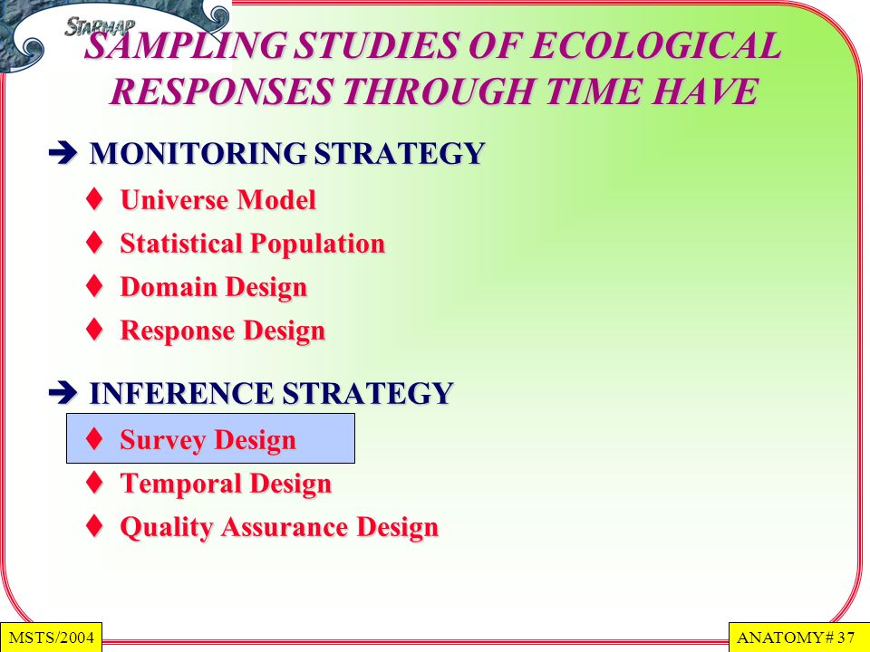 ANATOMY # 37MSTS/2004 MONITORING STRATEGY MONITORING STRATEGY Universe Model Universe Model Statistical Population Statistical Population Domain Design Domain Design Response Design Response Design INFERENCE STRATEGY INFERENCE STRATEGY Survey Design Survey Design Temporal Design Temporal Design Quality Assurance Design Quality Assurance Design SAMPLING STUDIES OF ECOLOGICAL RESPONSES THROUGH TIME HAVE
