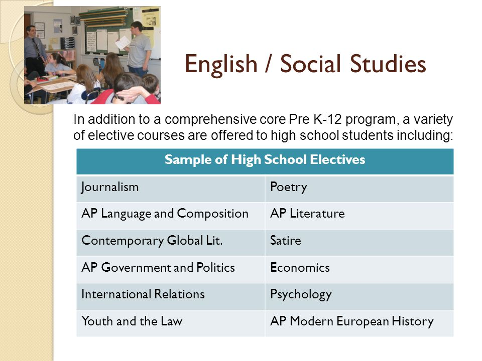 English / Social Studies In addition to a comprehensive core Pre K-12 program, a variety of elective courses are offered to high school students including: Sample of High School Electives JournalismPoetry AP Language and CompositionAP Literature Contemporary Global Lit.Satire AP Government and PoliticsEconomics International RelationsPsychology Youth and the LawAP Modern European History