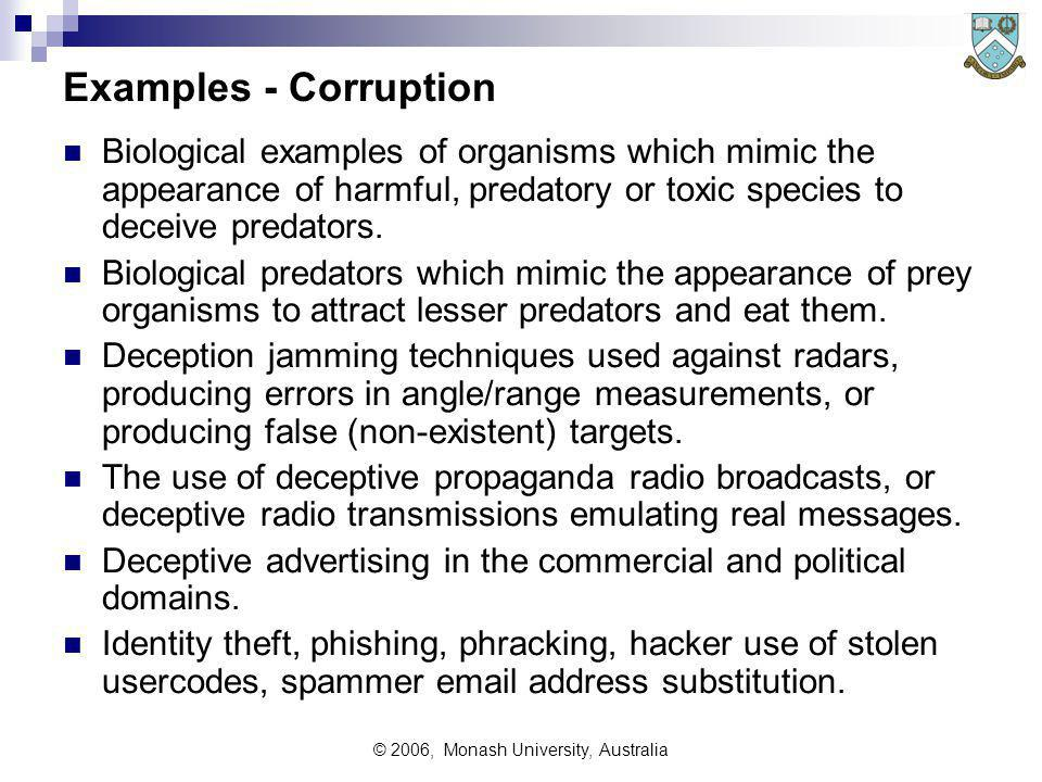 © 2006, Monash University, Australia Examples - Corruption Biological examples of organisms which mimic the appearance of harmful, predatory or toxic species to deceive predators.