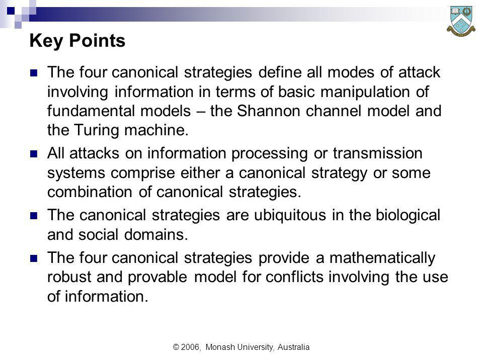 © 2006, Monash University, Australia Key Points The four canonical strategies define all modes of attack involving information in terms of basic manipulation of fundamental models – the Shannon channel model and the Turing machine.