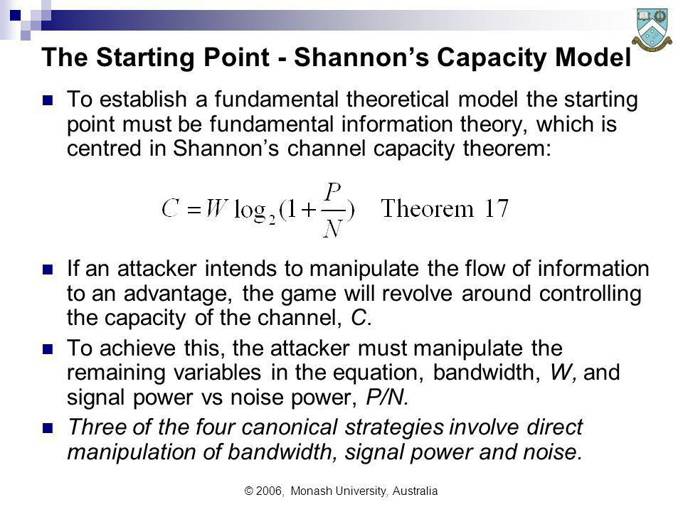© 2006, Monash University, Australia The Starting Point - Shannons Capacity Model To establish a fundamental theoretical model the starting point must be fundamental information theory, which is centred in Shannons channel capacity theorem: If an attacker intends to manipulate the flow of information to an advantage, the game will revolve around controlling the capacity of the channel, C.