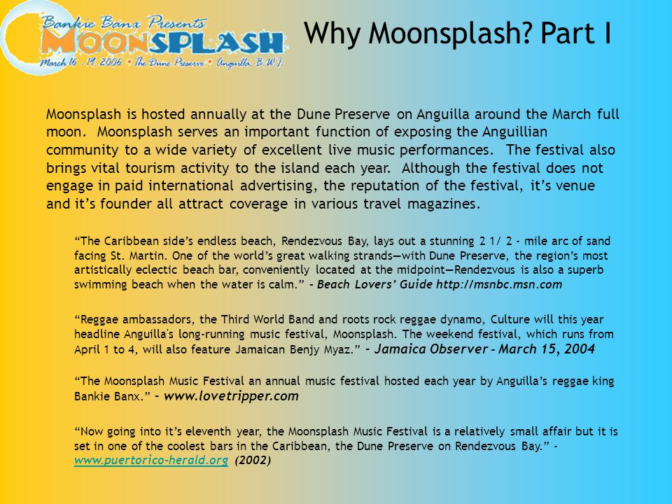 Beyond the economic impact on Anguilla, Moonsplash is most proud of its legacy of social consciousness.