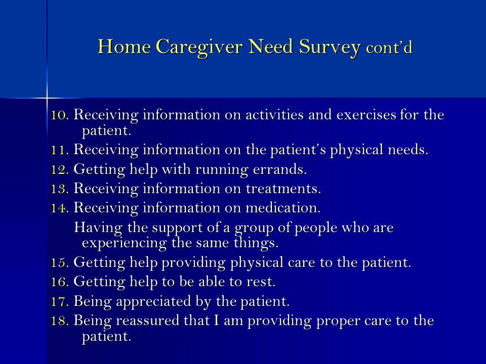 Home Caregiver Need Survey contd 10.