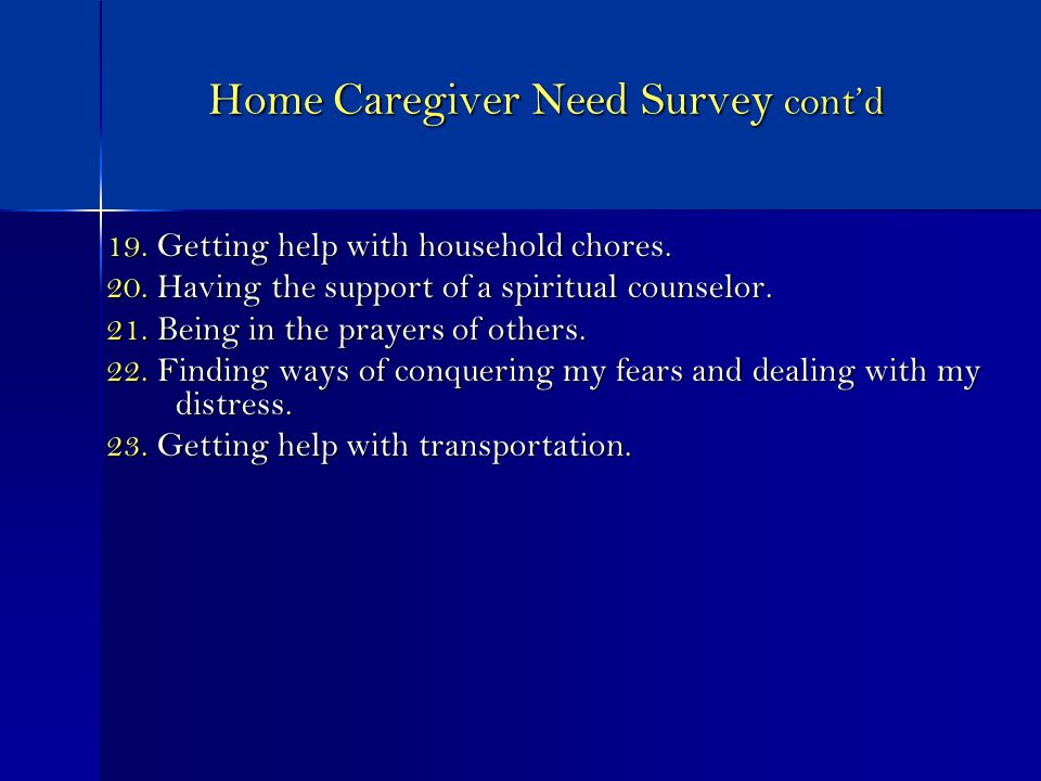 Home Caregiver Need Survey contd 19. Getting help with household chores.