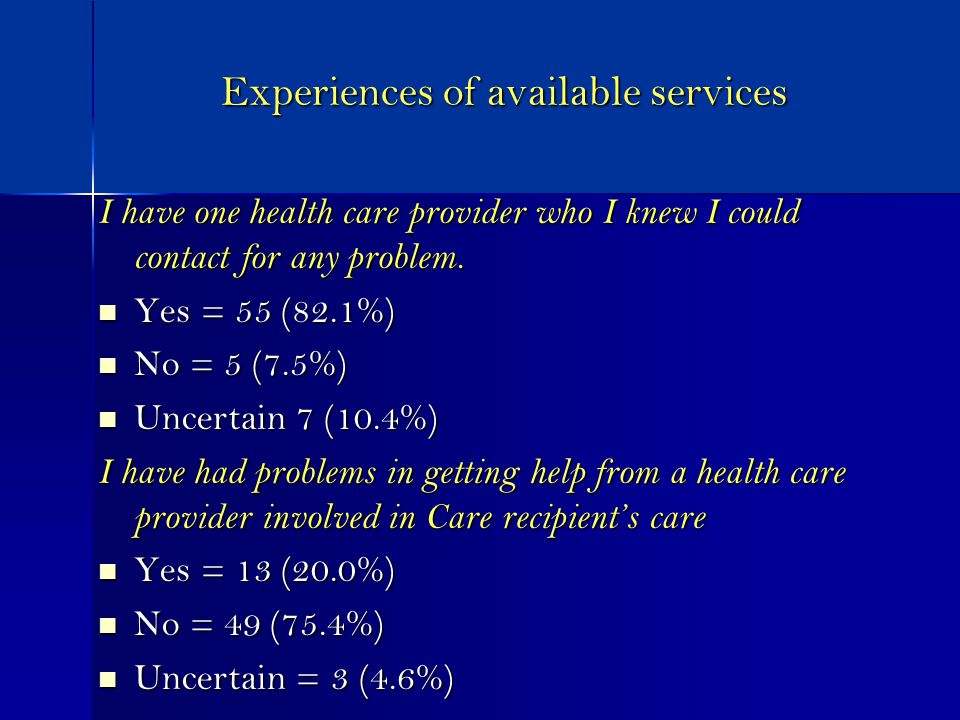 Experiences of available services I have one health care provider who I knew I could contact for any problem.