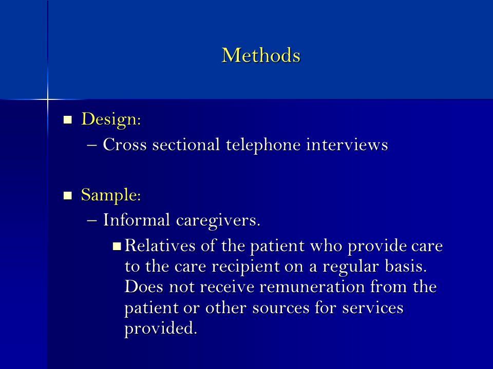 Methods Design: Design: –Cross sectional telephone interviews Sample: Sample: –Informal caregivers.