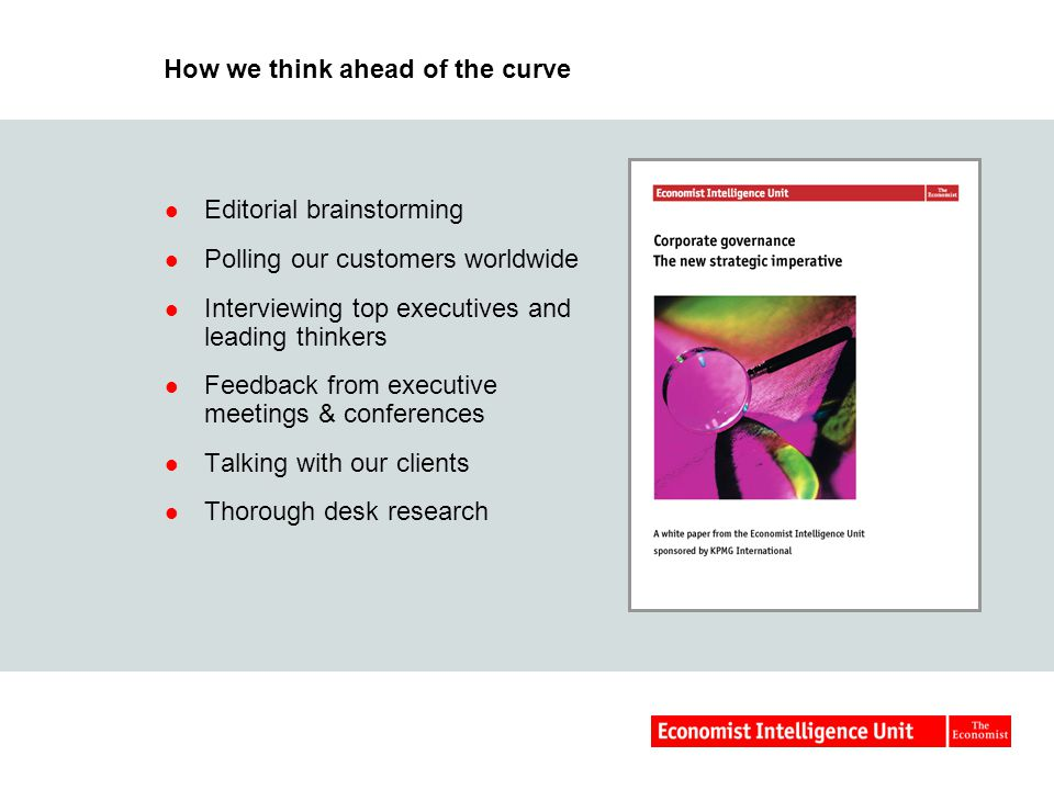 How we think ahead of the curve Editorial brainstorming Polling our customers worldwide Interviewing top executives and leading thinkers Feedback from executive meetings & conferences Talking with our clients Thorough desk research