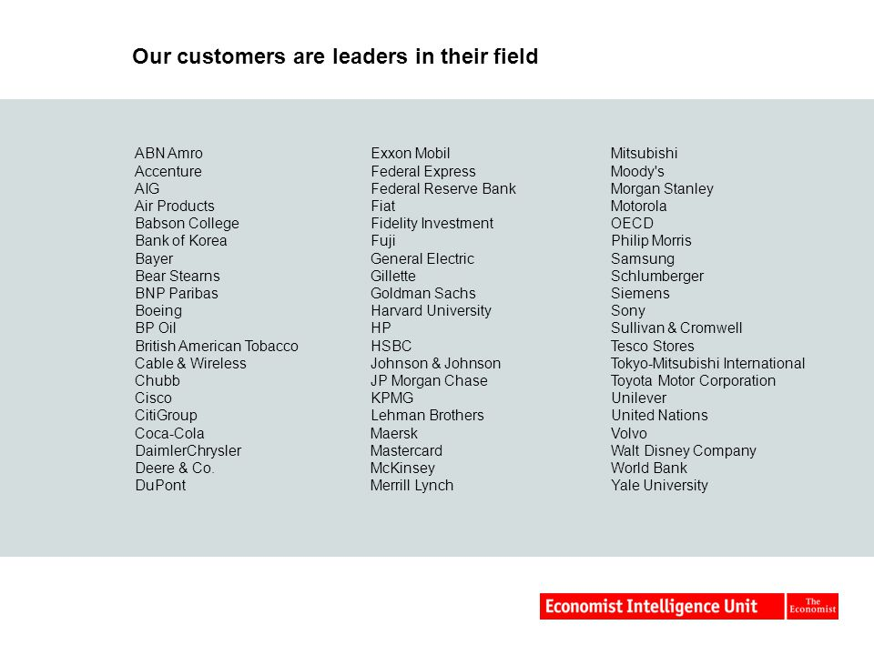 Our customers are leaders in their field ABN Amro Accenture AIG Air Products Babson College Bank of Korea Bayer Bear Stearns BNP Paribas Boeing BP Oil British American Tobacco Cable & Wireless Chubb Cisco CitiGroup Coca-Cola DaimlerChrysler Deere & Co.